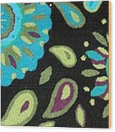 Tapestry Turquoise Rug Wood Print