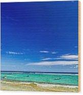 Turquoise Sea And Blue Sky Wood Print