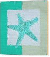 Turquoise Seashells Ix Wood Print by Lourry Legarde