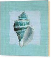 Turquoise Seashells Viii Wood Print by Lourry Legarde