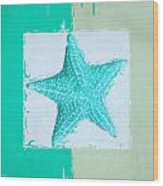 Turquoise Seashells Xi Wood Print by Lourry Legarde