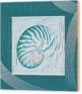Turquoise Seashells Xxi Wood Print