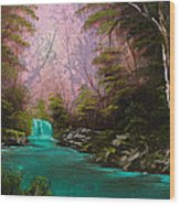 Turquoise Waterfall Wood Print by C Steele