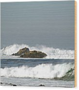Turquoise Waves Monterey Bay Coastline Wood Print