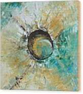 turquoise white earth tones modern abstract MIRACLE PLANET by Chakramoon Wood Print