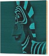 Turquoise Zebra Wood Print