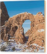 Turret Arch In Winter Wood Print