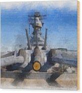 Turrets 1 And 2 Uss Iowa Battleship Photo Art 01 Wood Print