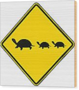 Turtle Crossing Sign Wood Print