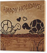 Turtle Greetings Wood Print