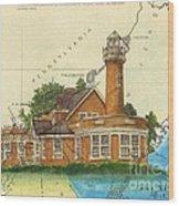 Turtle Rock Lighthouse Pa Chart Map Art  Wood Print