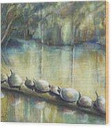 Turtles On A Log Wood Print