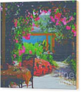 Tuscan Courtyard Wood Print
