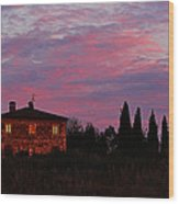 Tuscan Farmhouse And Morning Glow Wood Print