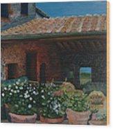 Tuscan Flower Pots Wood Print