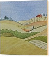 Tuscan Hillside Two Wood Print by Mary Ellen Mueller Legault