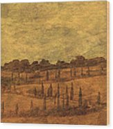 Landscape And Winding Road With Cypress Trees Wood Print