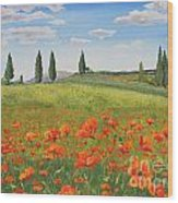 Tuscan Poppies-b Wood Print
