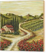 Tuscan Road With Poppies Wood Print