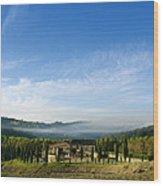 Tuscan Sky Vineyard Wood Print