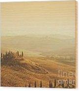 Tuscan Villa Sunrise Wood Print
