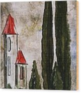 Tuscan Village Landscape Fine Art Print Wood Print