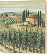 Tuscan Vineyard And Villa Wood Print