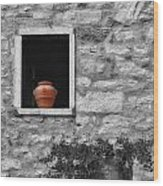 Tuscan Window And Pot Bw And Color Wood Print