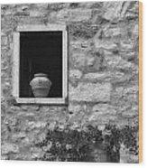 Tuscan Window And Pot Wood Print
