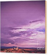 Tuscania Village With Approaching Storm  Italy Wood Print