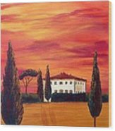Tuscany In Red Wood Print