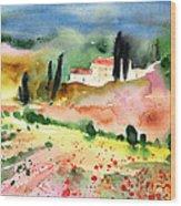 Tuscany Landscape 02 Wood Print by Miki De Goodaboom