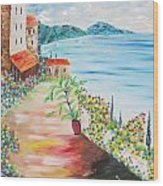 Tuscany Seaside Wood Print
