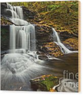 Tuscarora Falls In Fall Wood Print