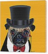 Tux Pug Wood Print