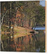 Tuxedo Lake Autumn Wood Print