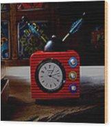 Tv Clock Wood Print