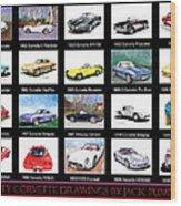 Twenty Corvettes Wood Print
