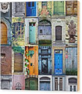 Twenty Four French Doors Collage Wood Print