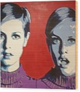 Twiggy Two Face Wood Print