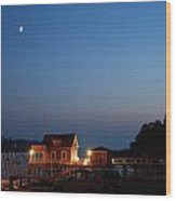 Twilight And Moon Rise Over The North Haven Casino. Celebrating 100 Years In 2012 The North Haven Casino Is One Of Maine's First Sailing Yacht Clubs. Wood Print