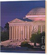 Twilight At The Jefferson Memorial Wood Print