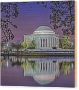 Twilight At The Thomas Jefferson Memorial  Wood Print