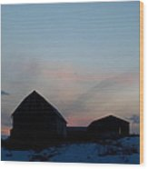 Twilight Barn Wood Print