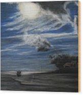 Twilight Beach Wood Print by Rachael Curry