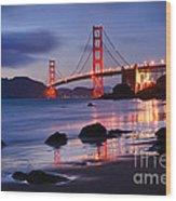 Twilight - Beautiful Sunset View Of The Golden Gate Bridge From Marshalls Beach. Wood Print