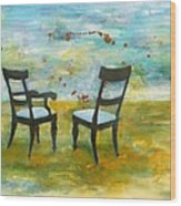Twilight - Chairs Wood Print by Deborah Allison