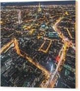 Twilight City View Of Paris Wood Print