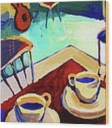 Twilight Coffee Cafe Wood Print