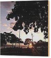 Twilight In Santos Beach Park Wood Print